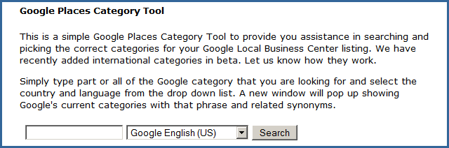 Google Places Category Tool