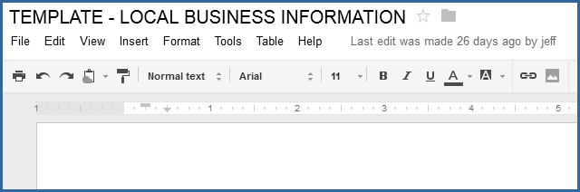 Local Business Information Template