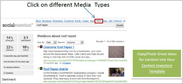 click on different media types